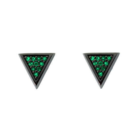 Blackened 18k Gold Tres Puntos Earrings Emerald - Mander Jewelry
