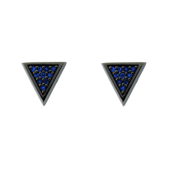 Blackened 18k Gold Tres Puntos Earrings Blue Sapphire - Mander Jewelry