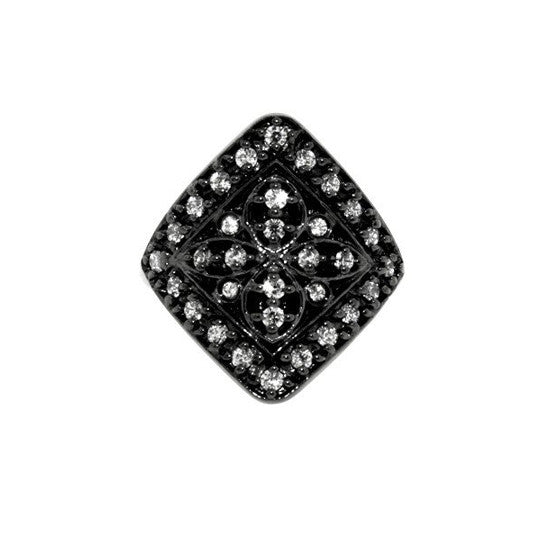 Blackened 18k Gold Midtown Ring Colorless Diamonds - Mander Jewelry