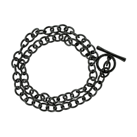 Blackened Silver Double Cable Chain Bracelet Black Diamonds