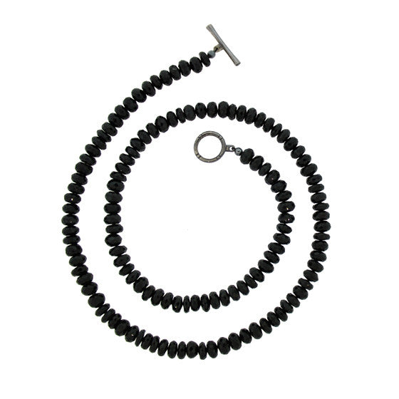 Black Onyx 8mm Spirit Bead Necklace Silver Black Diamonds - Mander Jewelry