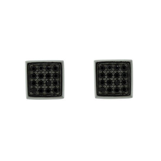Blackened 18k White Gold Cuadrado Earrings Black Diamonds - Mander Jewelry
