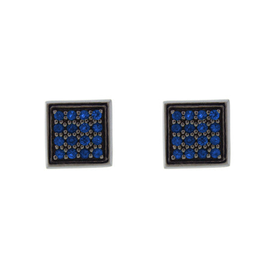 Blackened 18k White Gold Cuadrado Earrings Blue Sapphires - Mander Jewelry