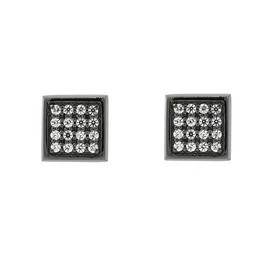 Blackened 18k White Gold Cuadrado Earrings Diamonds