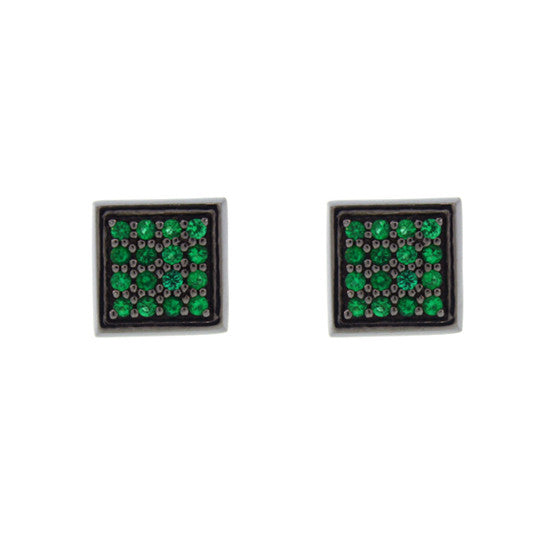 Blackened 18k White Gold Cuadrado Earrings Emerald