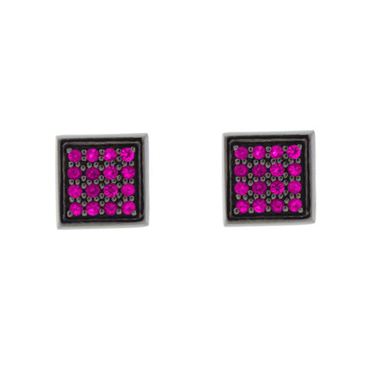 Blackened 18k White Gold Cuadrado Earrings Pink Sapphires - Mander Jewelry