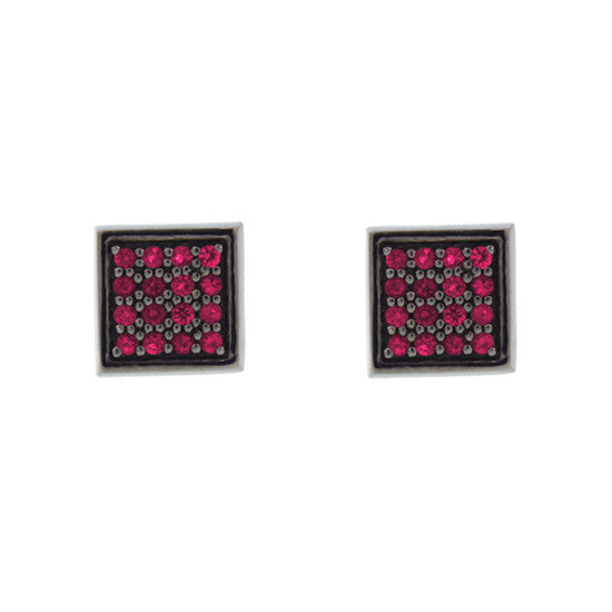 Blackened 18k White Gold Cuadrado Earrings Ruby - Mander Jewelry