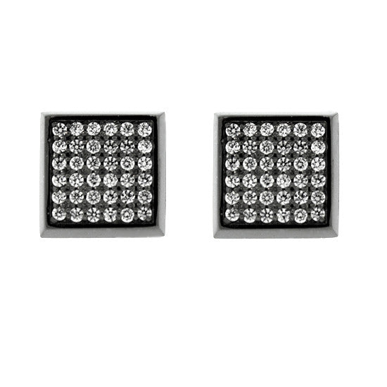 Blackened 18k White Gold Lrg Cuadrado Earrings Diamonds