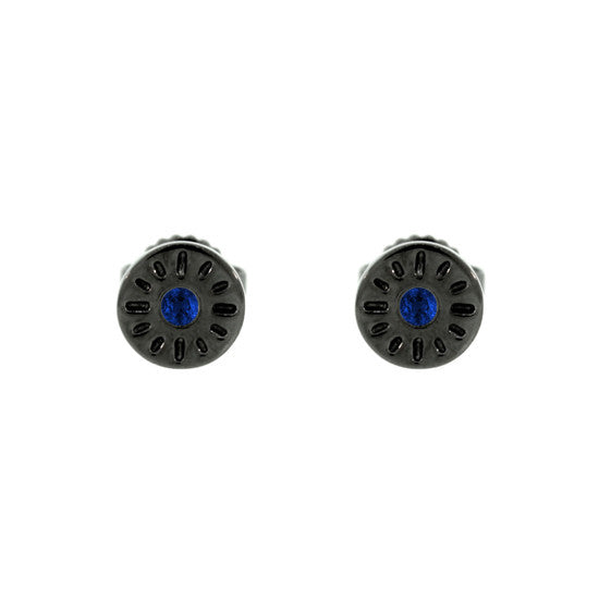 Blackened 18k Gold Timeless Earrings Blue Sapphire