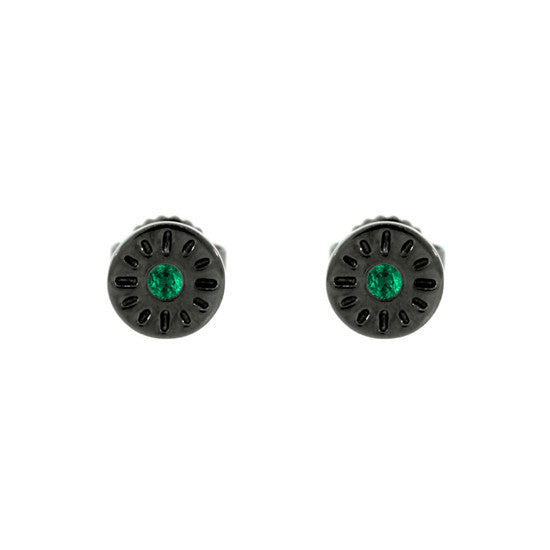 18k Blackened Gold Earrings Emeralds