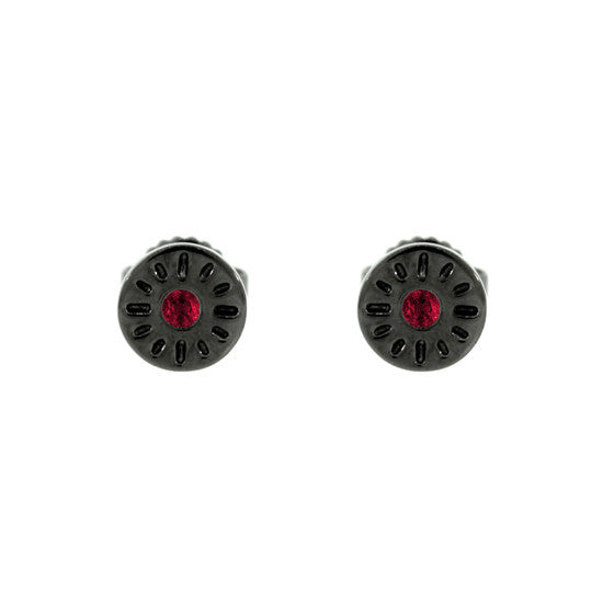 Blackened 18k Gold Timeless Earrings Ruby