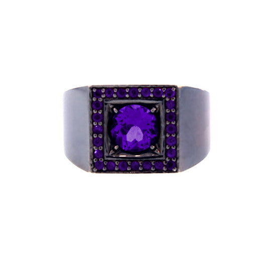 Blackened Silver Jefe Ring Amethyst - Mander Jewelry