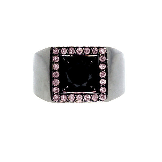 Blackened 18k Gold Jefe Ring Black Diamond Pink Diamonds - Mander Jewelry