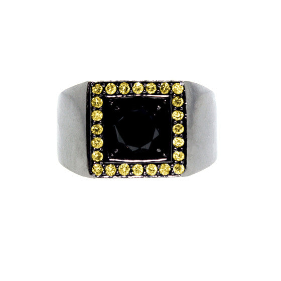 Blackened 18k Gold Jefe Ring Black Diamond Yellow Diamonds - Mander Jewelry