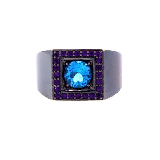 Blackened Silver Blue Topaz and Amethyst Ring Jefe - Mander Jewelry