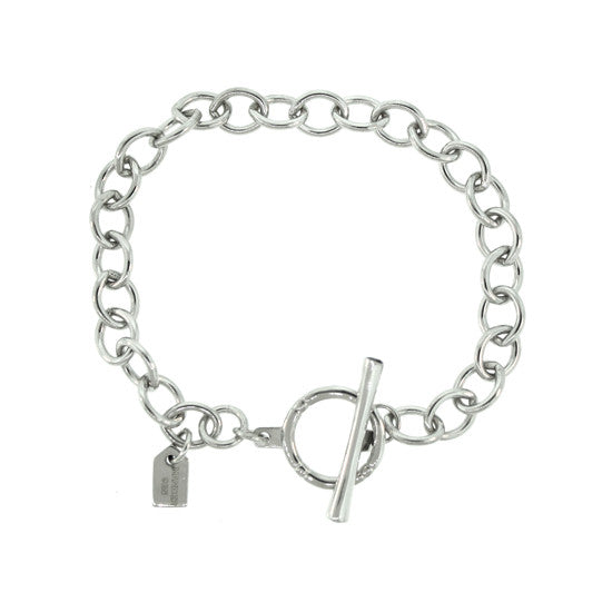 Silver Cable Chain Bracelet Black Diamonds