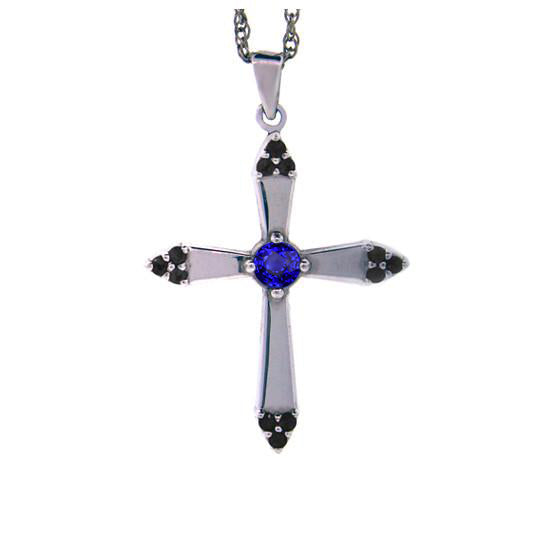 18k White Gold Blue Sapphire and Black Diamonds Cross Pendant Convent for women.