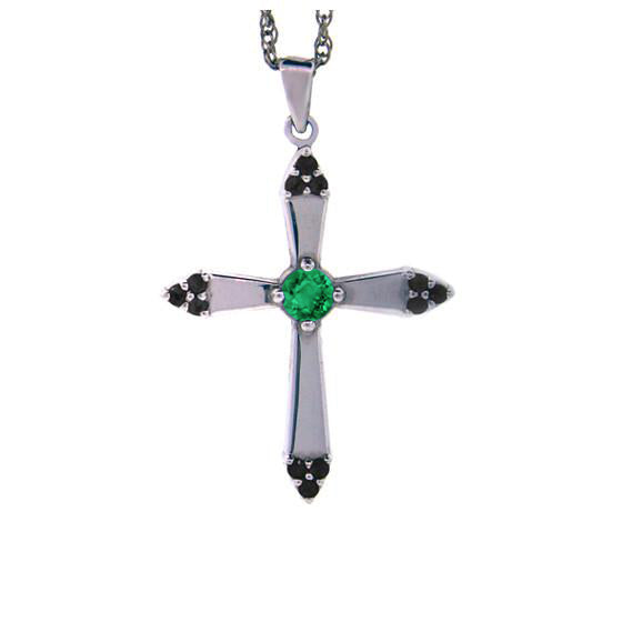 18k White Gold Emerald and Black Diamonds Cross Pendant Convent - Mander Jewelry