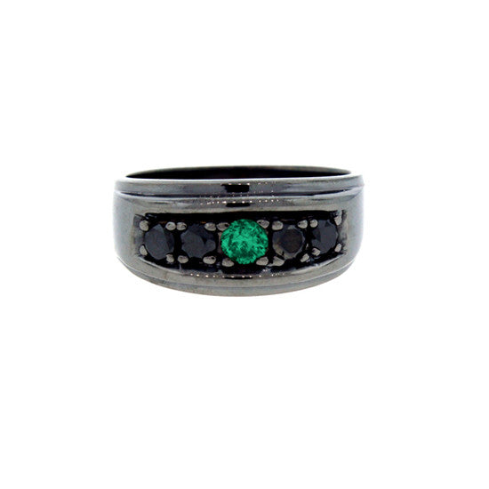 Blackened 18k Gold Graduado Ring Emerald Black Diamonds - Mander Jewelry
