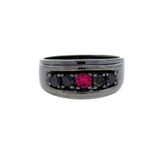 Blackened 18k Gold Graduado Ring Ruby Black Diamonds - Mander Jewelry
