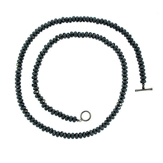 Hematite 10mm Spirit Bead Necklace Silver Black Diamonds - Mander Jewelry