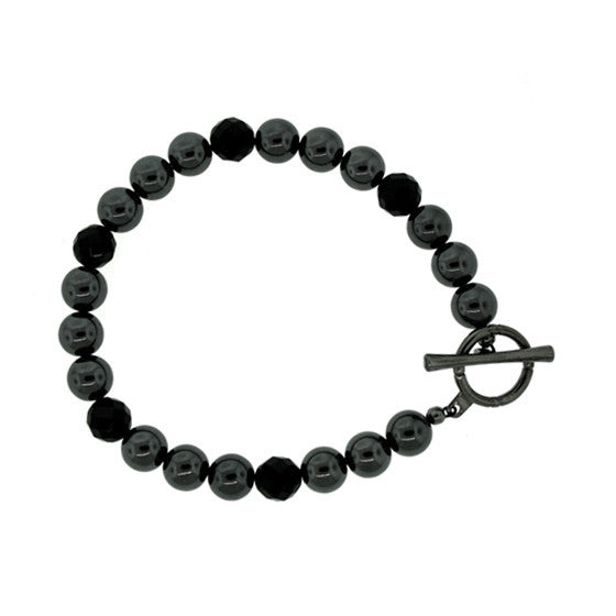Hematite Onyx 8mm Spirit Bead Bracelet Silver Black Diamonds