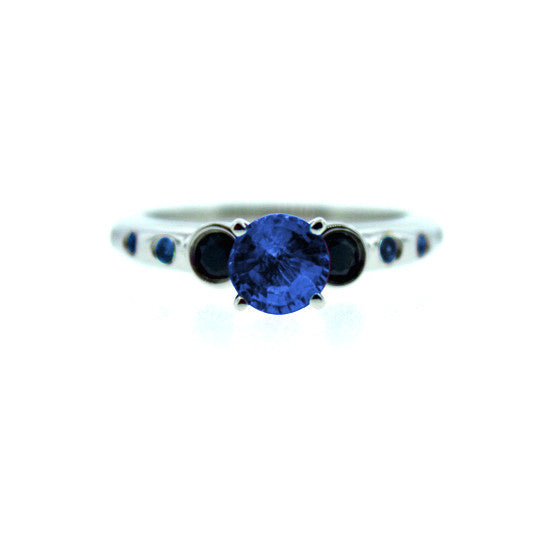 18k White Gold Blue Sapphire and Black Diamond Ring Violeta - Mander Jewelry