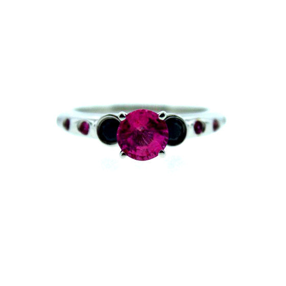 18k White Gold Pink Sapphire and Black Diamond Ring Violeta for women