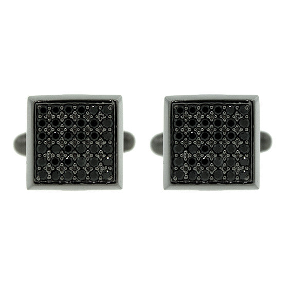 Blackened Silver Large Cuadrado Black Diamond Cufflinks - Mander Jewelry