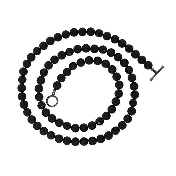 Black Onyx 10mm Spirit Bead Necklace Silver Black Diamonds