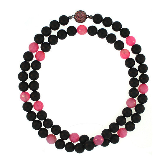 Black Onyx Pink Agate 10mm Spirit Bead Necklace Silver Pink Garnet