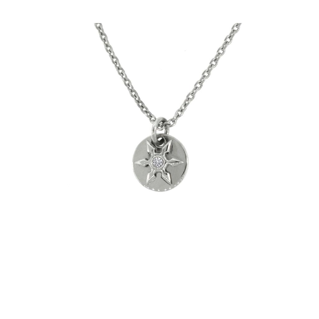 14k White Gold Diamond Pendant Necklace Ninja Star - Mander Jewelry