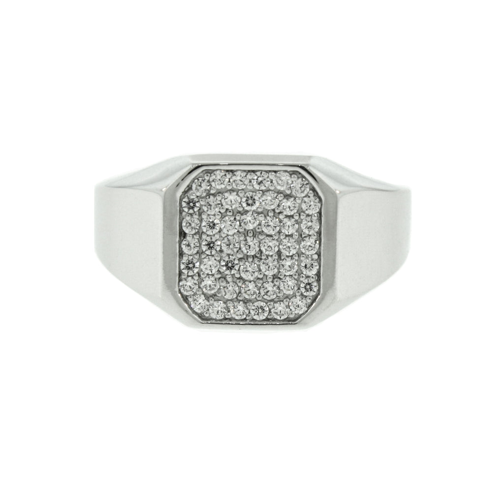 14k White Gold Octagon Diamond Ring - Mander Jewelry