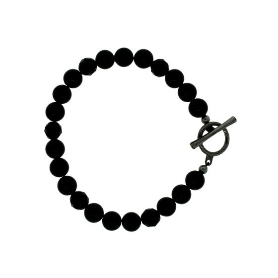 Black Onyx 8mm Spirit Bead Bracelet Silver Citrine - Mander Jewelry