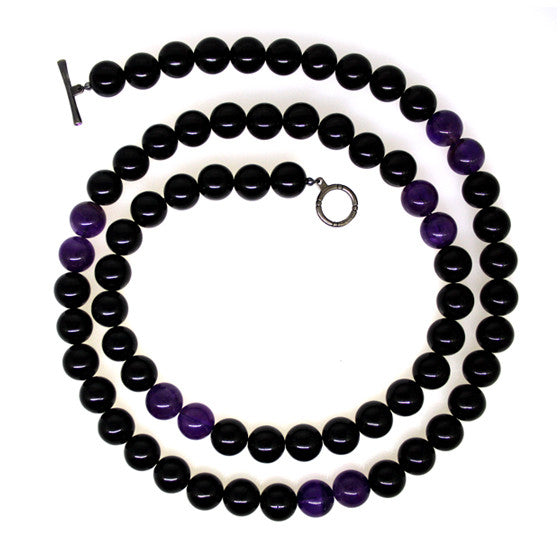 Black Onyx Amethyst 12mm Spirit Bead Necklace Silver - Mander Jewelry