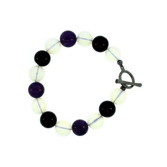Black Onyx Amethyst Opal Quartz Bracelet Silver Black Diamonds - Mander Jewelry