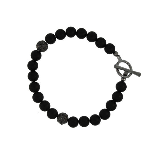 Black Onyx 8mm Spirit Bead Bracelet Silver pave Black Diamonds