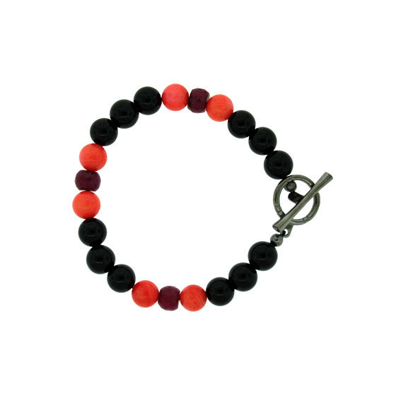 Black Onyx Ruby Coral Spirit Bead Bracelet Silver Black Diamonds