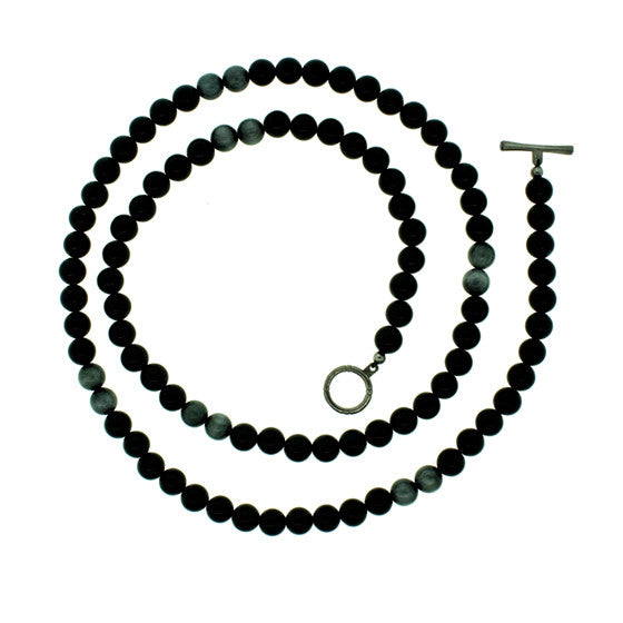 Black Onyx Hawks Eye 8mm Spirit Bead Necklace Silver Black Diamonds - Mander Jewelry