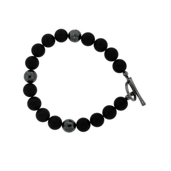 Black Onyx Hematite 10mm Spirit Bead Bracelet Silver Black Diamond