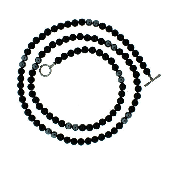 Black Onyx Hematite 8mm Spirit Bead Necklace Silver Black Diamonds - Mander Jewelry