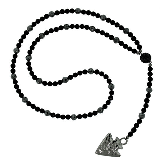 Black Onyx Hematite Necklace Silver Black Spinel Islander Arrowhead - Mander Jewelry
