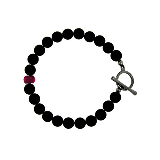 Matte Onyx Ruby 10mm Spirit Bead Bracelet Silver Ruby - Mander Jewelry