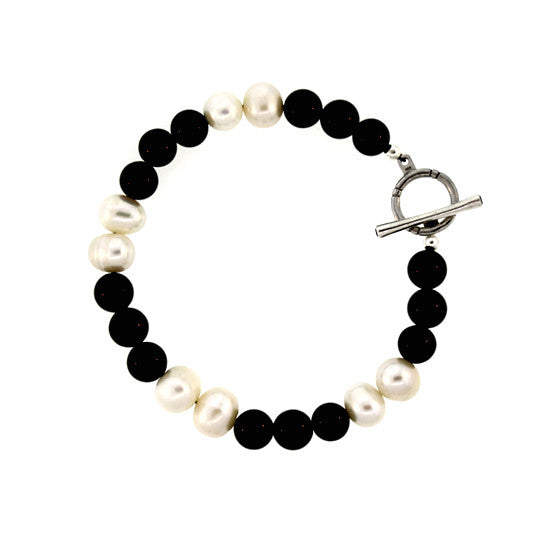 Black Onyx and Pearl 10mm Spirit Bead Bracelet Silver Black Diamonds - Mander Jewelry