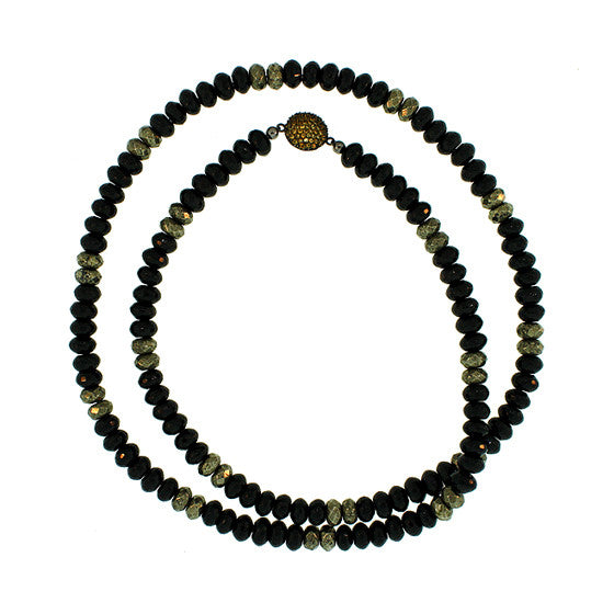 Black Onyx Pyrite Spirit Bead Necklace Black Silver Citrine