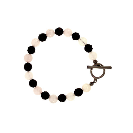 Black Onyx Rose Quartz Spirit Bead Bracelet Silver Black Diamonds