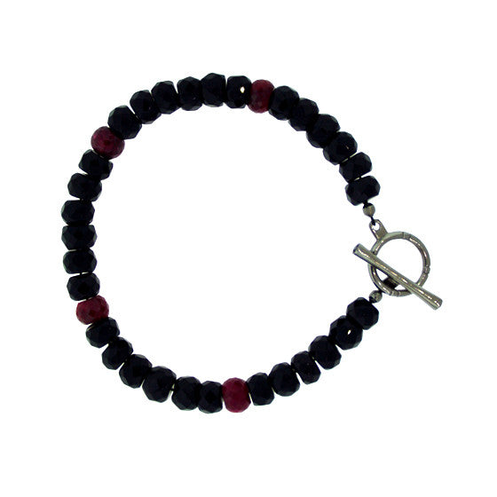 Black Onyx Ruby 10mm Spirit Bead Bracelet Silver Black Diamonds - Mander Jewelry