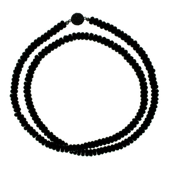 Black Onyx 8mm Spirit Bead Necklace Silver Black Spinel - Mander Jewelry