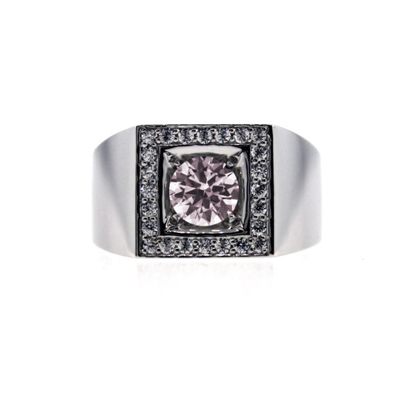 Platinum light Pink Sapphire and and Diamond Ring Jefe for men by Mander Jewelry