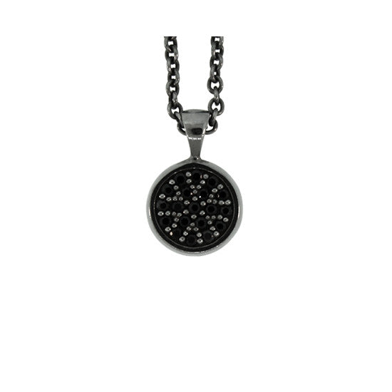 18k Black Gold Redondo Pendant Black Diamonds